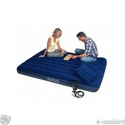 Air Bed Blue Camping Matress Portable With 2 Pillows Intex C