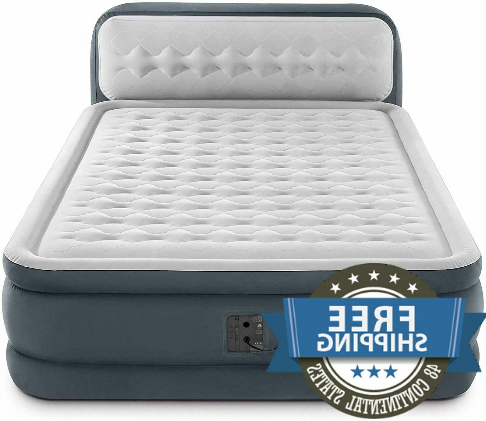 Air Bed With Built In Pump Queen Size Mattress Headboard Dur