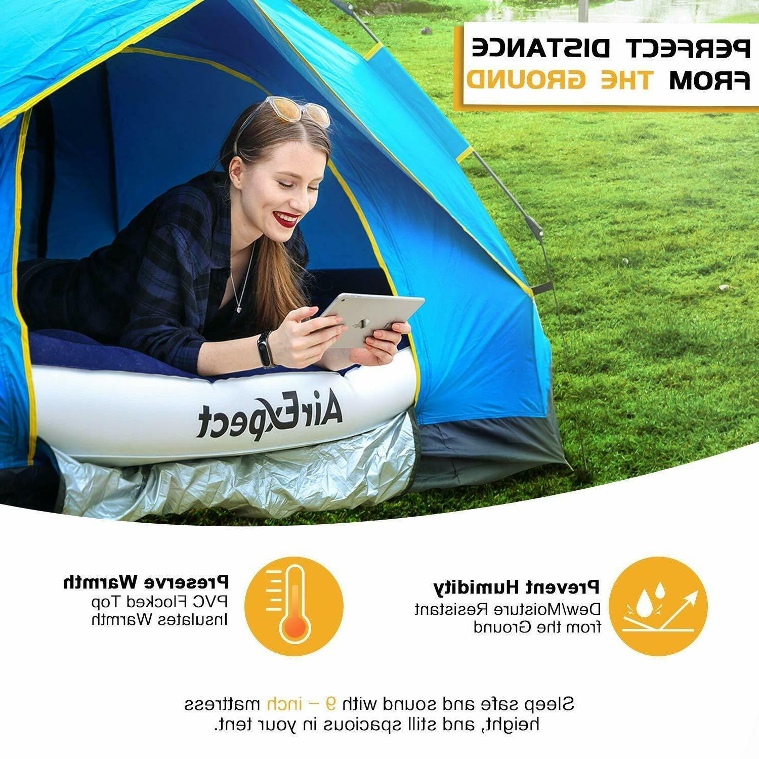 Air Mattress Twin Rechargeable Electric Pump Built in Pillow Camp