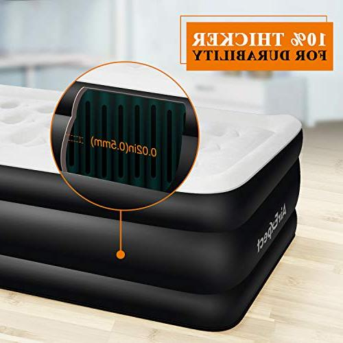 Air Twin Size Airbed - Inflatable Mattress Blow Elevated with Built-in Pump, Quilt Storage Easy 2-Year Warranty