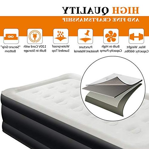 """Air Airbed AirExpect Inflatable Elevated Raised Guest Bed with Built-in Pump, Quilt Easy 19"""", 2-Year"""