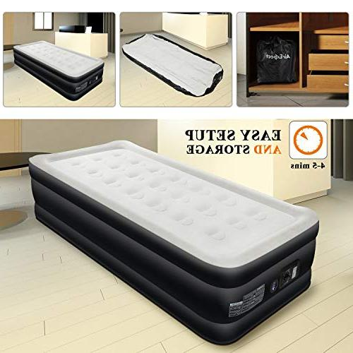 Air Mattress Twin Size Airbed - Inflatable Elevated Raised with Quilt Top, Easy 2-Year Warranty