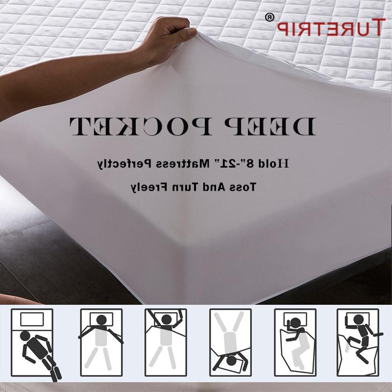 Turetrip Fabric Quilt Waterproof <font><b>Fitted</b></font> Protector Waterproof Matress Protector