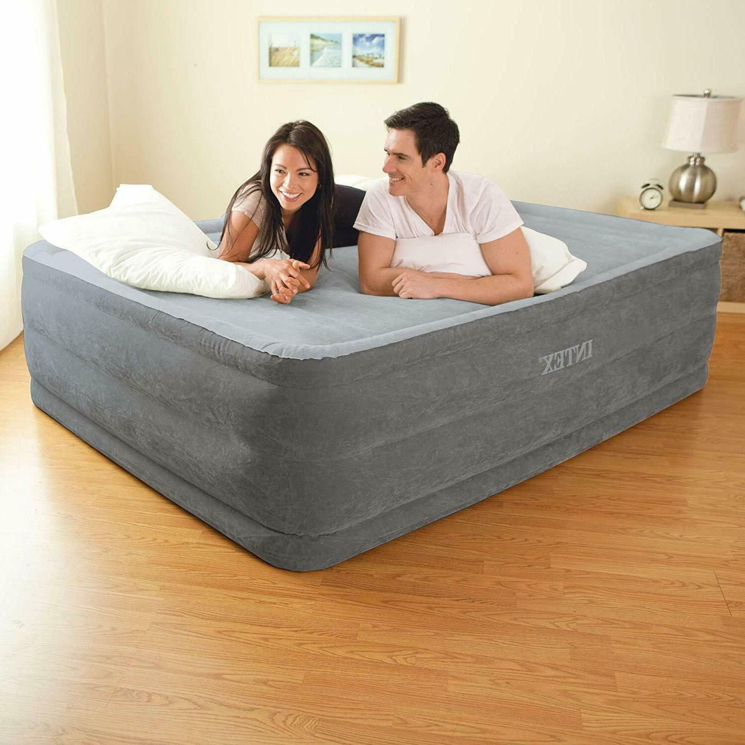 Intex Comfort Inflatable Queen Size Air Bed Mattress with Bu